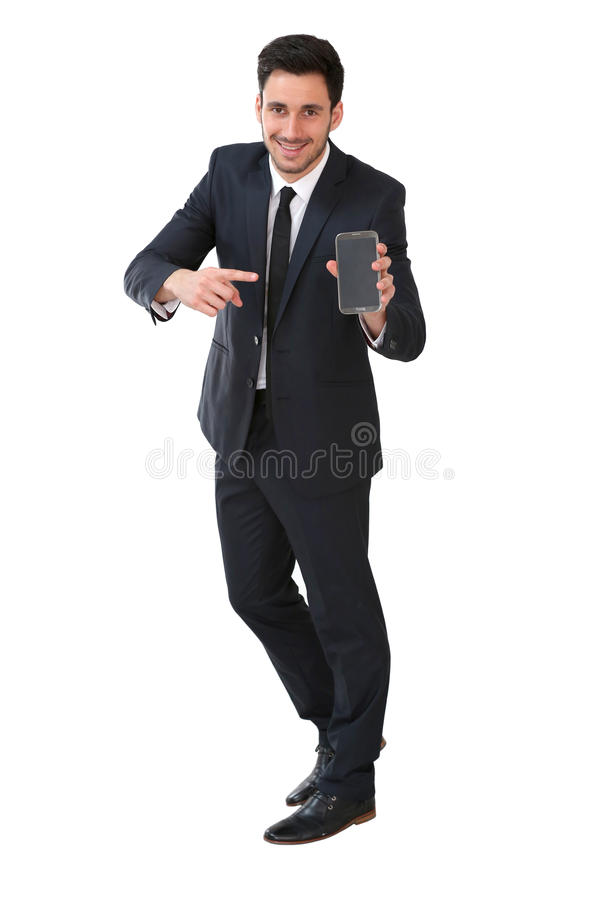 Businessman showing phone screen. Businessman on white background holding smartphone stock photography