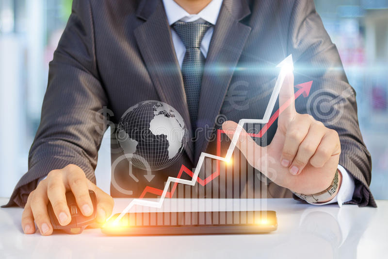Businessman showing profit growth . royalty free stock images