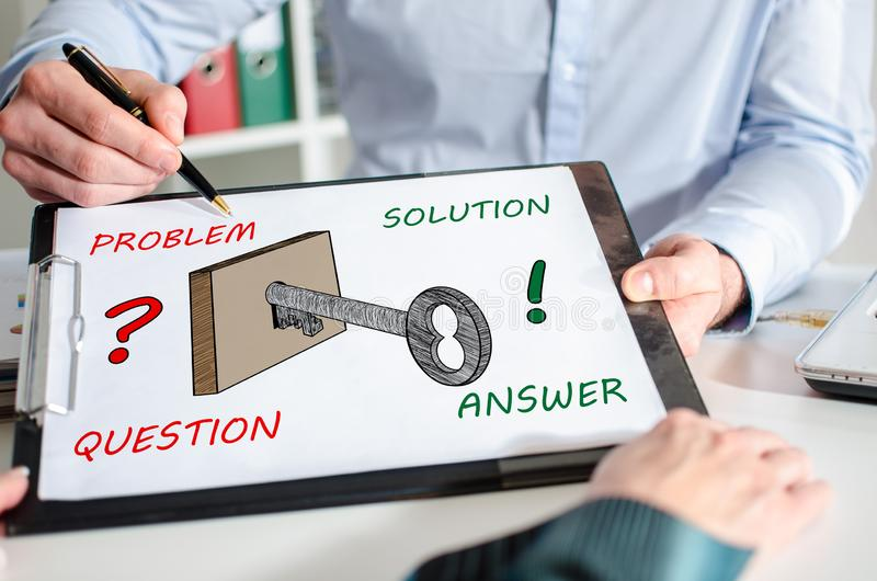 Solution concept on a clipboard royalty free stock images