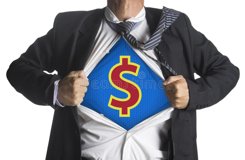 Businessman showing a superhero suit underneath dollar symbol royalty free stock photo