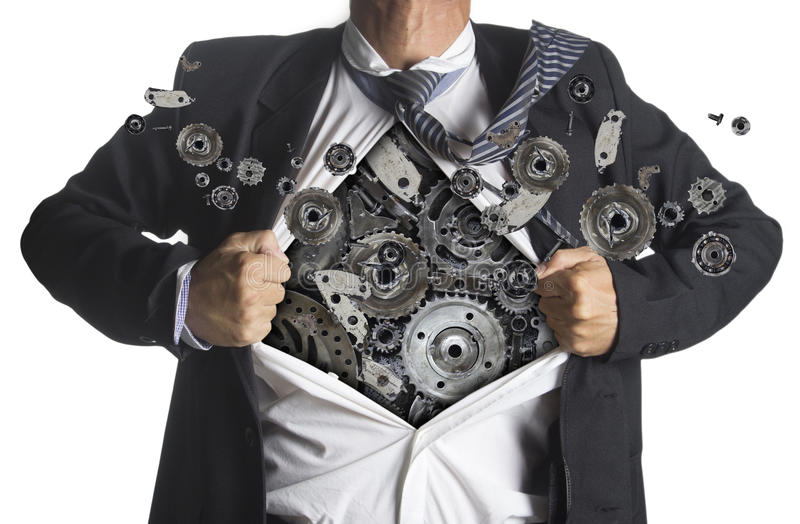 Businessman showing a superhero suit underneath machinery. Metal gears idea concept, isolated on white background royalty free stock photos