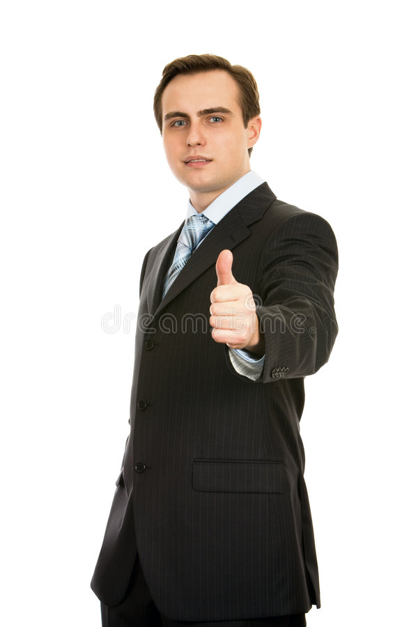 Businessman showing thumb-up. Isolated on white. royalty free stock photos