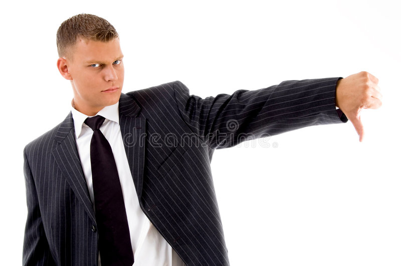 Businessman showing thumbs down gesture