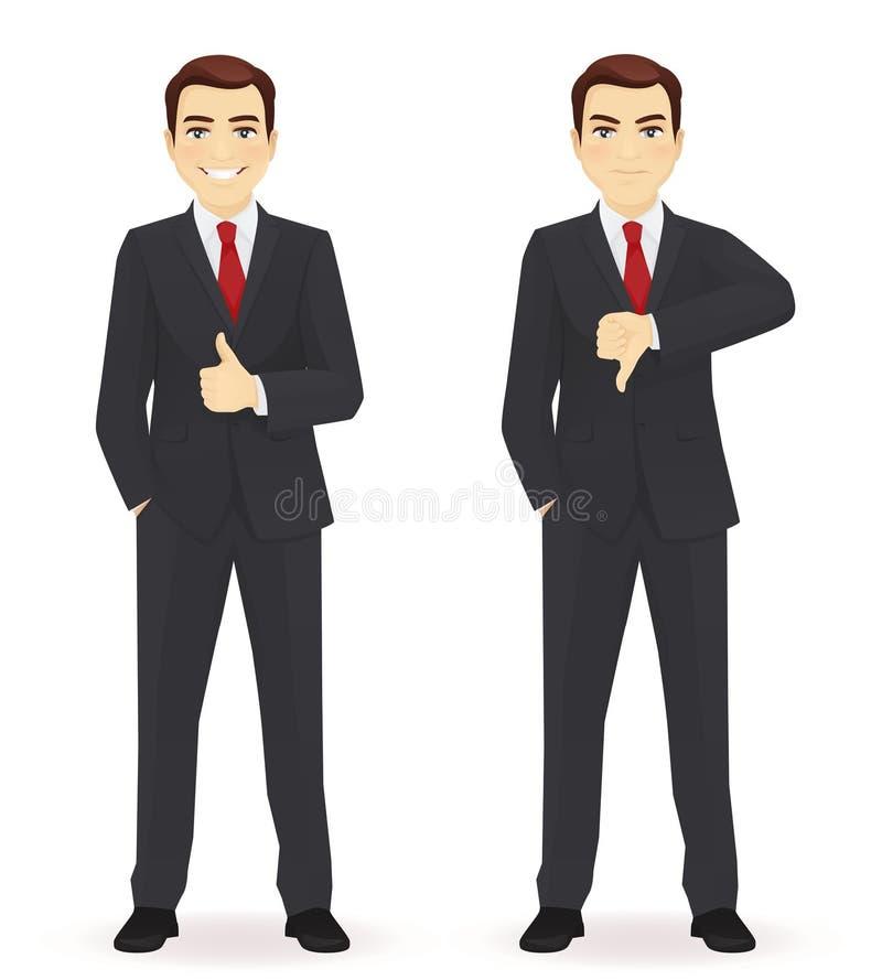 Businessman showing thumbs stock illustration