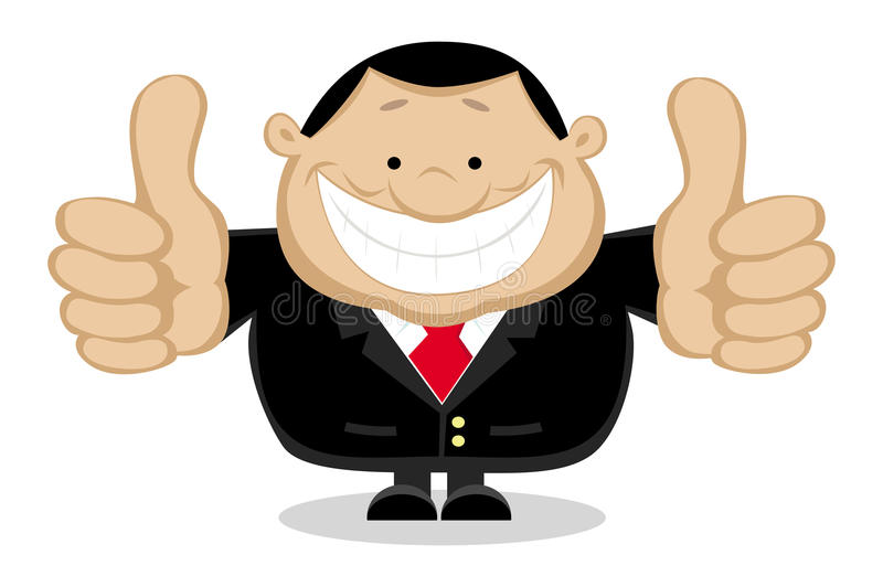 Businessman showing thumbs up. Separate layers. Smiling businessman showing thumbs up. Separate layers. Vector illustration royalty free illustration