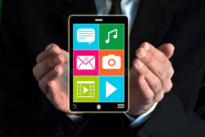Download Businessman Showing A Virtual Smartphone Stock Image - Image of human, graphic: 39506605