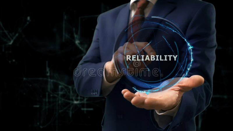 Businessman shows concept hologram Reliability to online of internet on his hand. Businessman shows concept hologram Reliability of internet on his hand. Man in royalty free stock photos