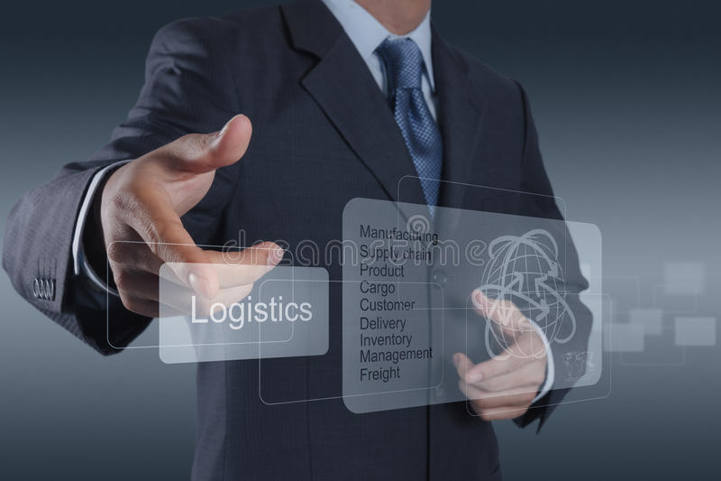 Businessman shows logistics diagram as concept. Businessman hand shows logistics diagram as concept royalty free stock photos