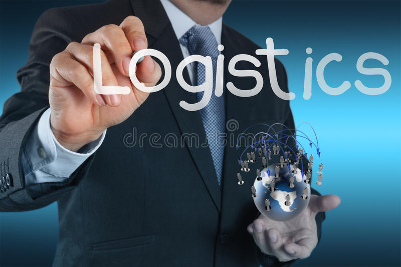 Businessman shows logistics diagram as concept. Businessman hand shows logistics diagram as concept stock photo