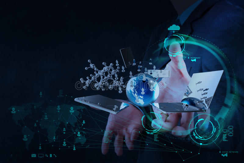 Businessman shows modern technology as concept. Businessman hand shows modern technology as concept stock photography