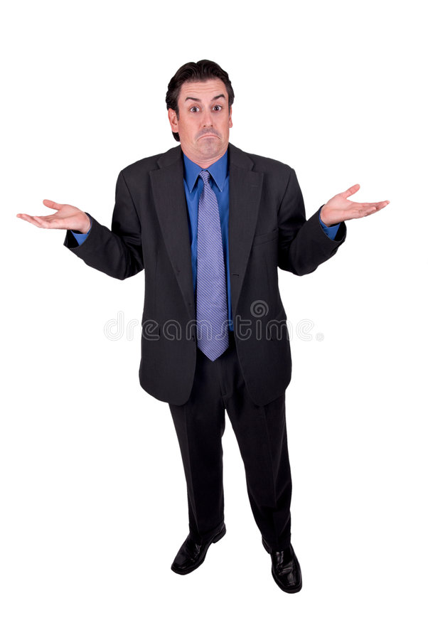 Businessman shrugging stock photography