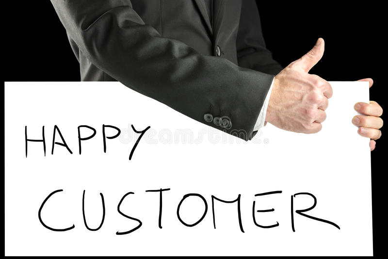 Businessman with sign - Happy customer royalty free stock image