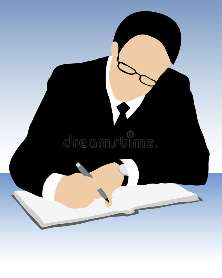 Businessman signing a contract. Vector of businessman with pen, eyeglasses, suit and tie signing contract on blue background vector illustration