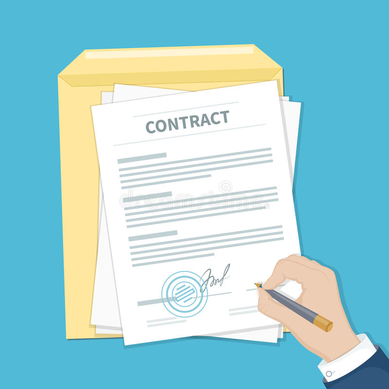 Businessman signing a contract. Man hand with pen, document and envelope. The process of business financial agreement. stock illustration