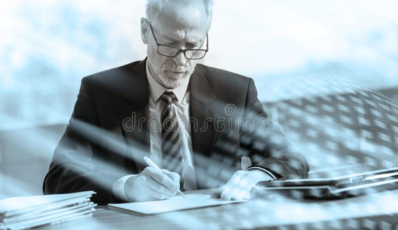 Businessman signing a document, black and white; multiple exposure. Businessman signing a document in office, black and white; multiple exposure royalty free illustration