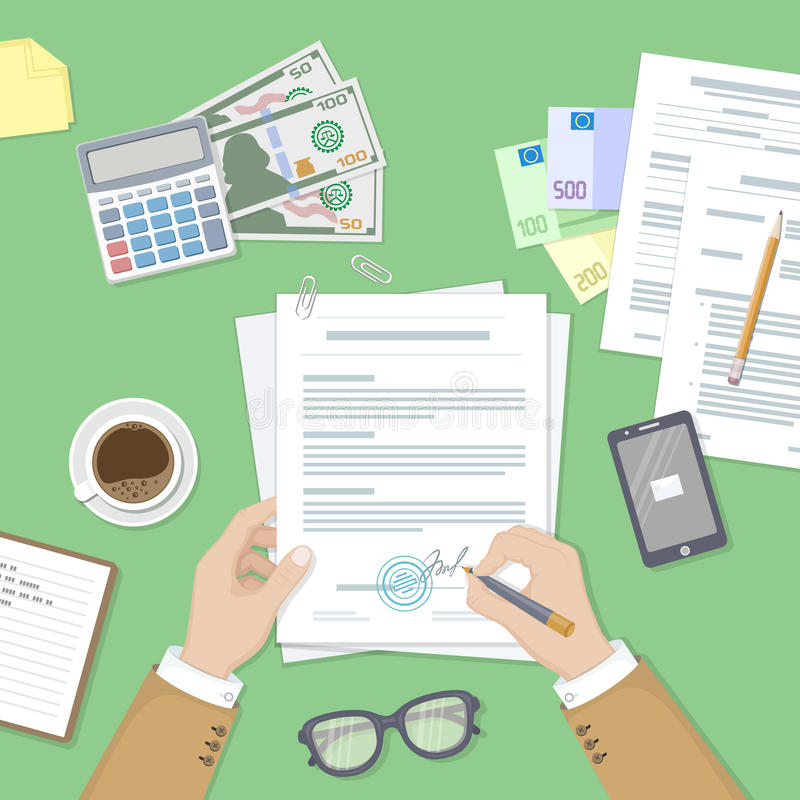 Businessman signing a document. Man hands with pen and contract. The process of business financial agreement. Desk with money, calculator, notebook, glasses stock illustration