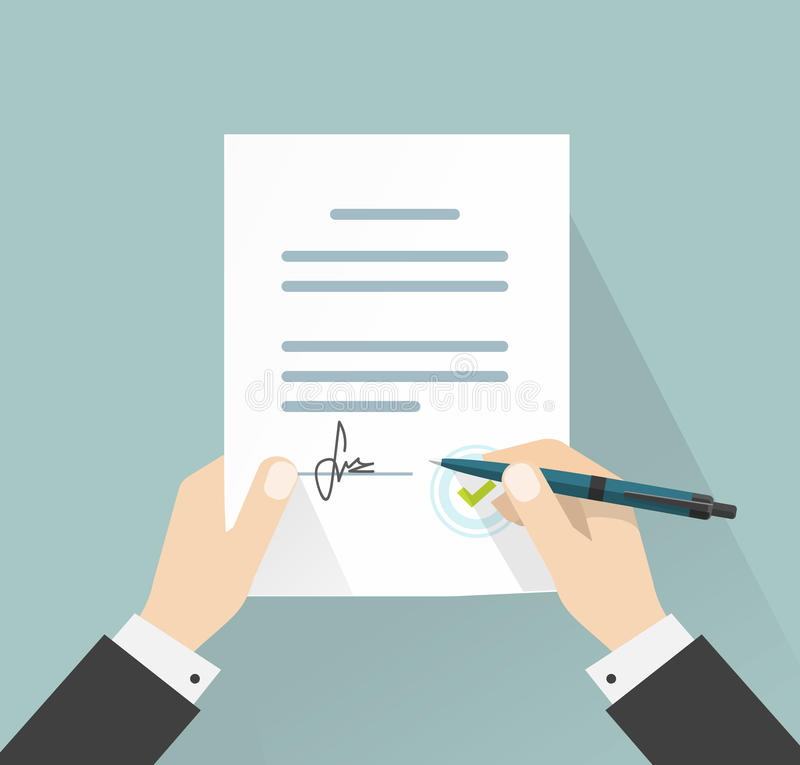 Businessman signing document vector, hands holding contract signed legal agreement vector illustration