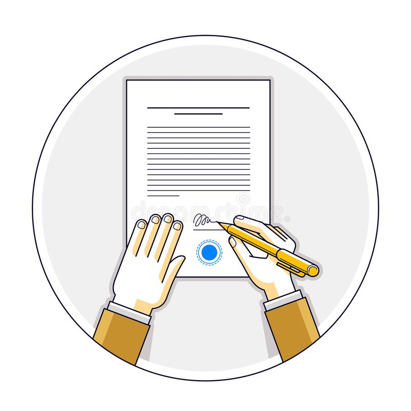 Businessman signs contract official paper document with seal, boss signs a order or directive, approve disposal, CEO manager chief. Top view of desk with man stock illustration