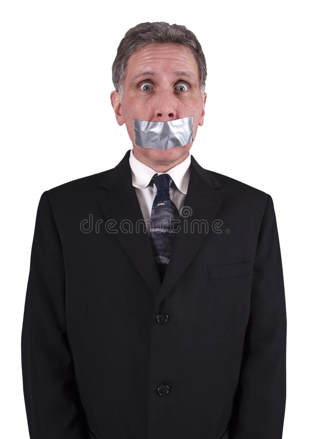 Businessman Silenced Duct Tape Over Mouth, Silence stock photography
