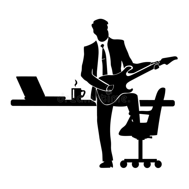 Businessman silhouette with a guitar. A successful business. Success. Chair Desk and drinking from a mug coffee with a laptop royalty free illustration