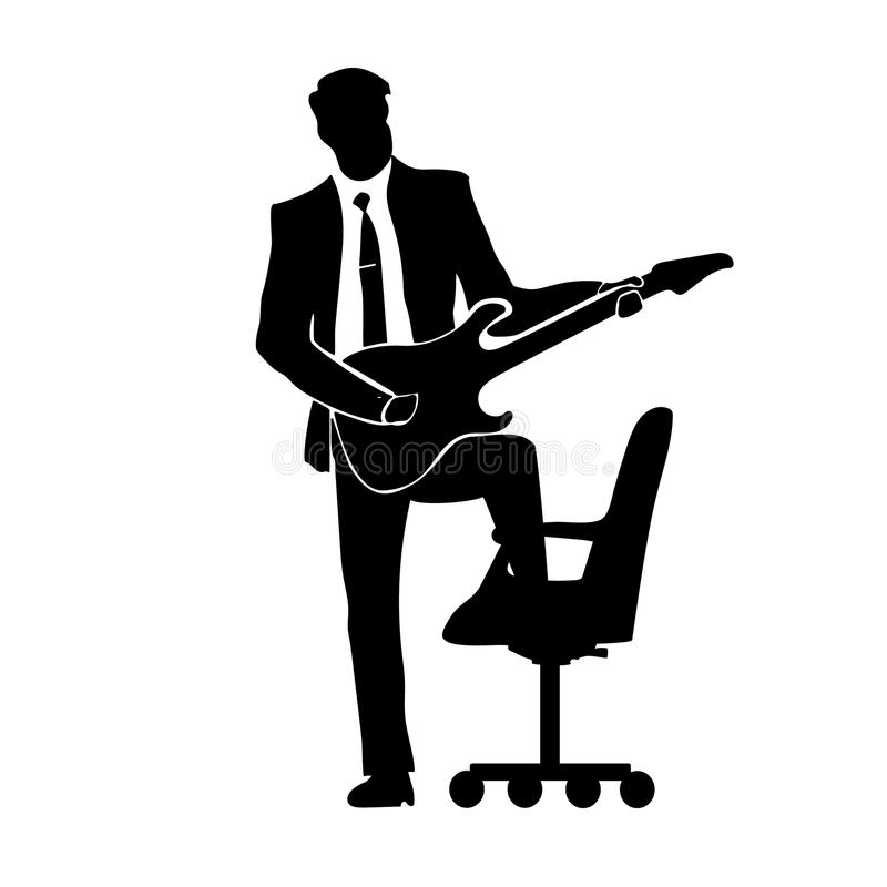 Businessman silhouette with a guitar. A successful business. Success. Chair. royalty free illustration