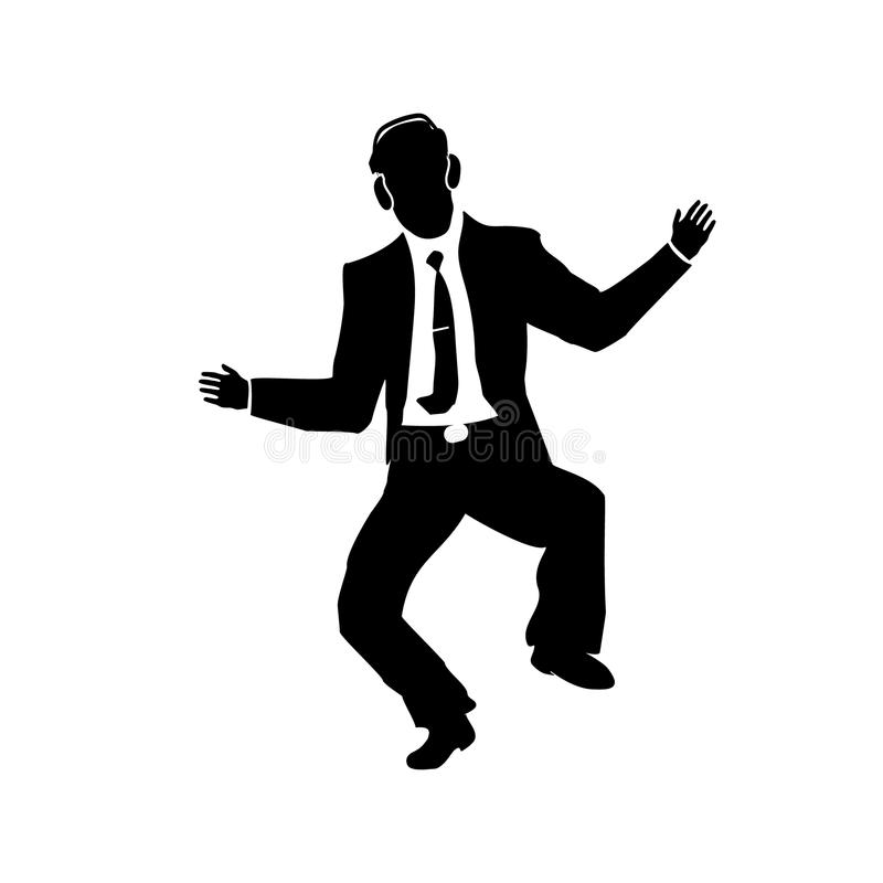 Businessman silhouette of a man in a suit and tie Dance. Sings. Success. Vector. royalty free illustration