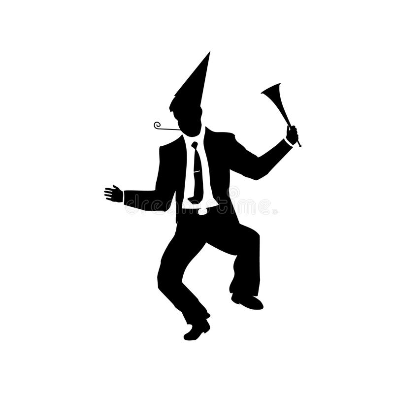 Businessman silhouette of a man. Will celebrate fools day and stupid party. April for greeting card, ad, promotion, poster, royalty free illustration