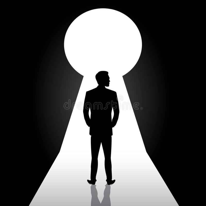 Businessman silhouette standing front of door keyhole,man in sui royalty free illustration