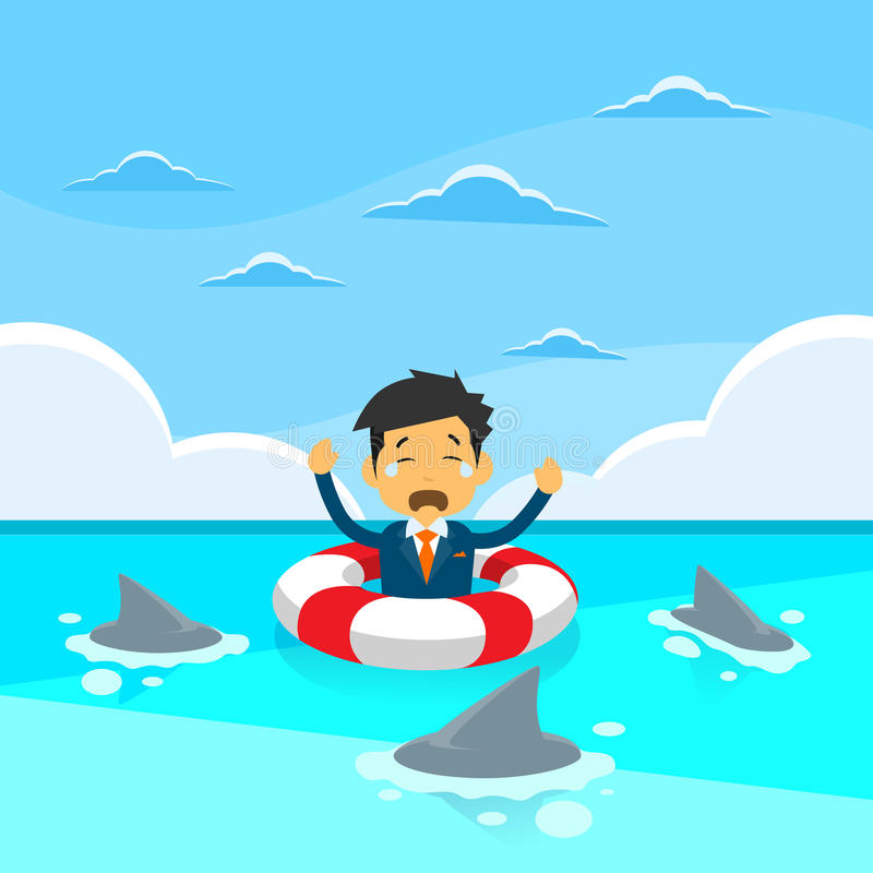 Businessman Sing Sea Water Lifebouy Sharks Around. Concept Financial Crisis Flat Vector Illustration vector illustration