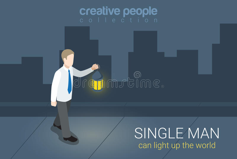 Businessman single man lantern light flat 3d isometric vector vector illustration