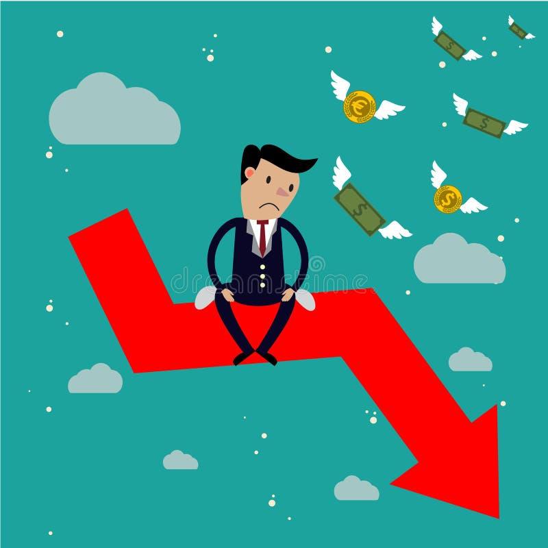 Businessman sit on arrow stock market crash,. Stock market falling concept royalty free illustration