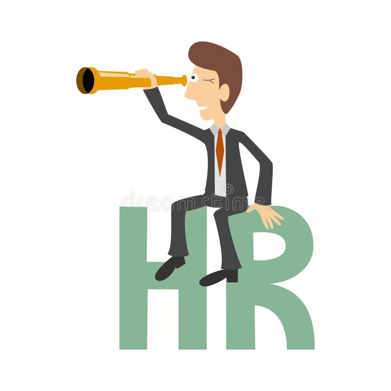 Businessman sits on HR letters human resources and looks throu royalty free illustration
