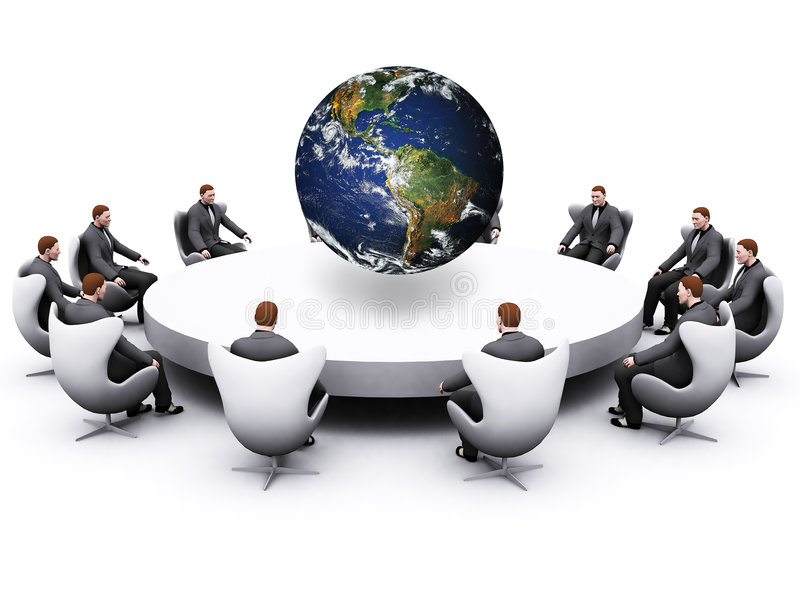 Businessman sitting around table stock illustration