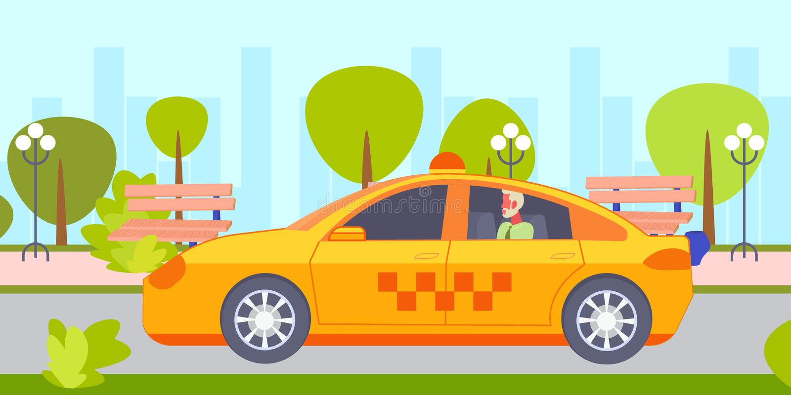 Businessman sitting back seat with open window in yellow taxi cab serious businessman passenger going to office. Cityscape background flat horizontal vector vector illustration