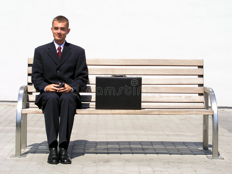 Download Businessman Sitting On Bench Stock Photo - Image: 227500