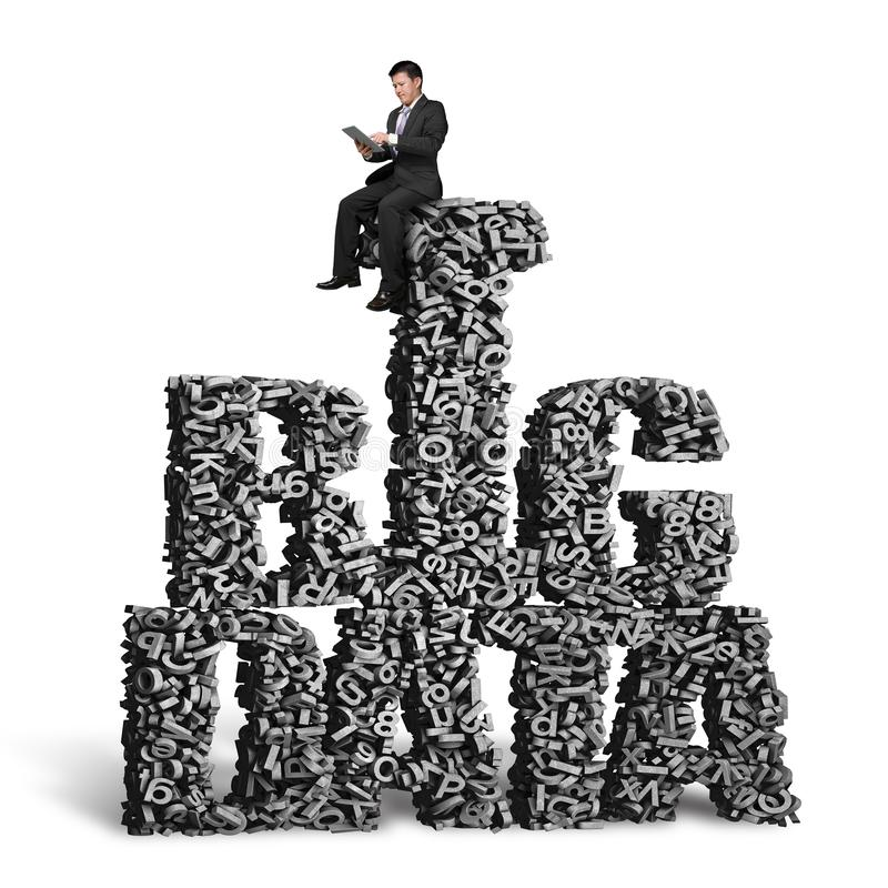 Businessman sitting on BIG DATA words of 3d characters stock photography