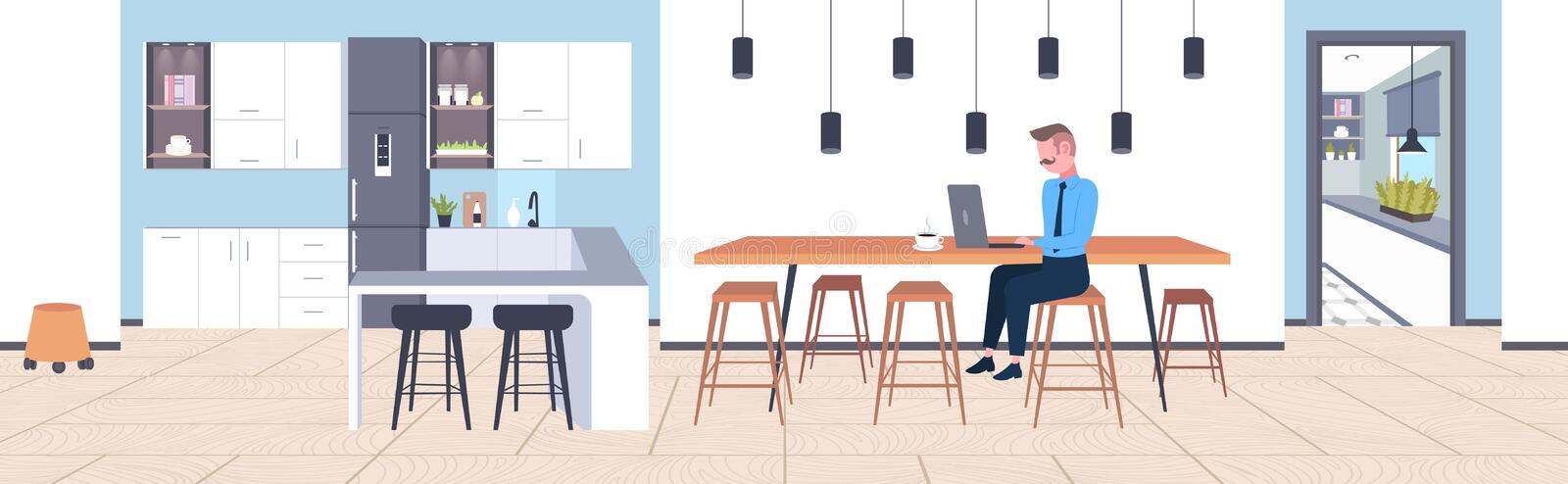 Businessman sitting at cafe table business man using laptop working process concept modern coffee point kitchen interior. Flat full length horizontal vector royalty free illustration