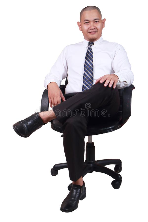 Businessman Sitting on Chair Isolated on White stock photo