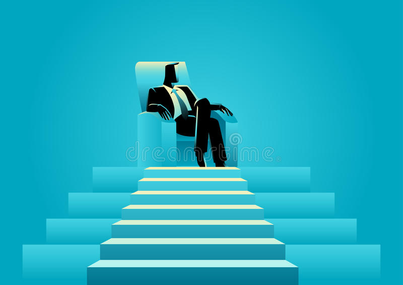 Businessman sitting with comforts in the sofa on top of a stage royalty free illustration