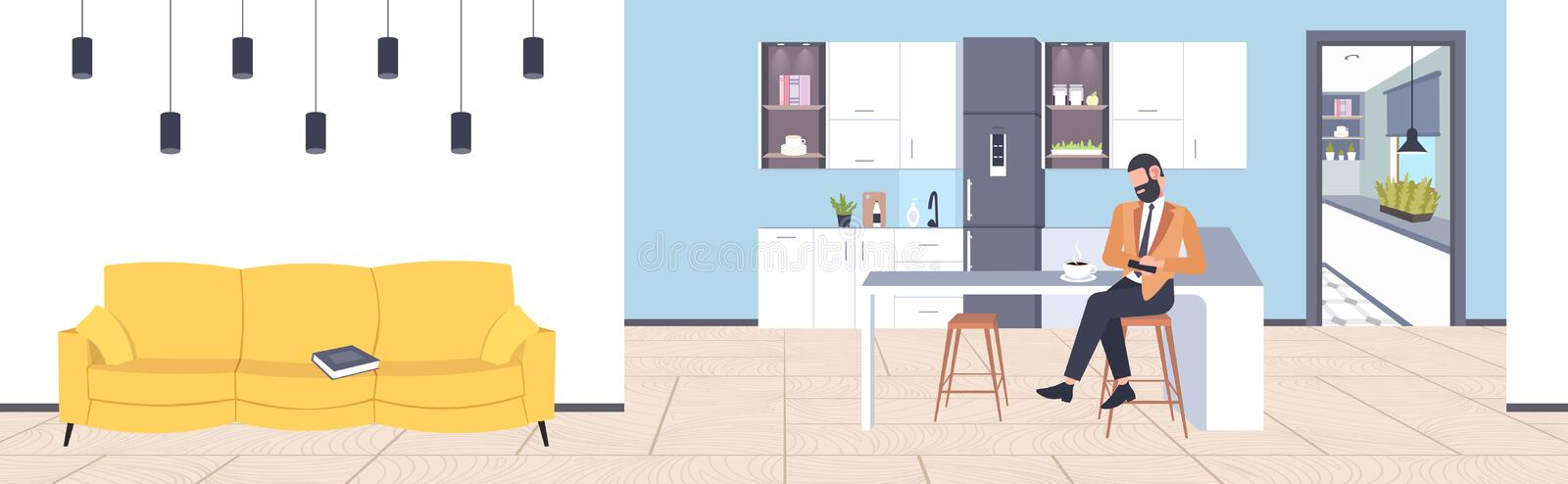 Businessman sitting at counter man using smartphone mobile app communication concept modern coffee point kitchen stock illustration