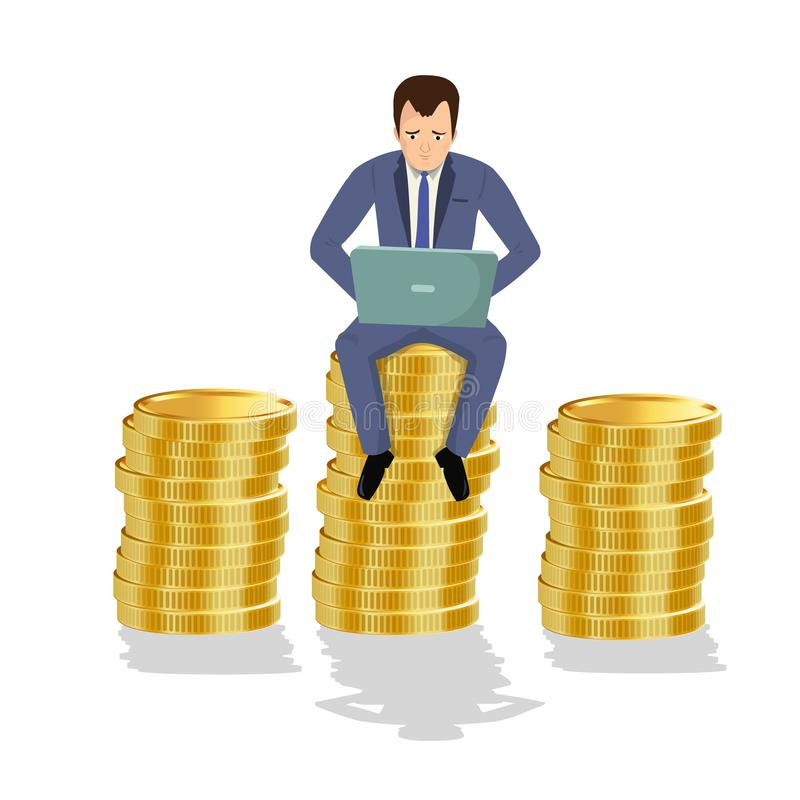 Businessman sitting on gold coins. Concept of creative person, earning money, success. stock illustration
