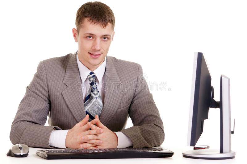 Businessman sitting at a laptop