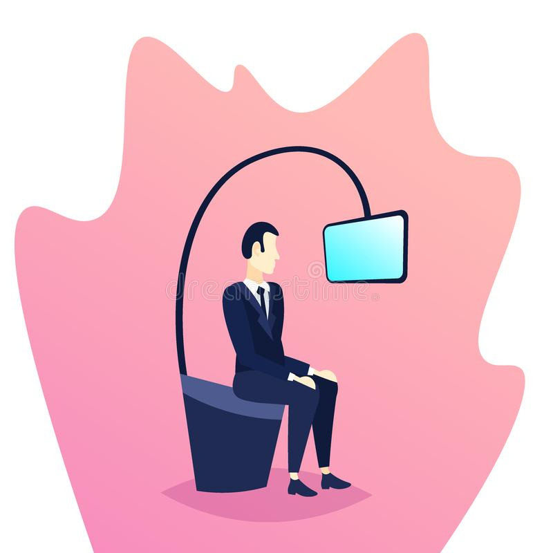 Businessman sitting looking television internet video device concept mobile application flat male cartoon character royalty free illustration