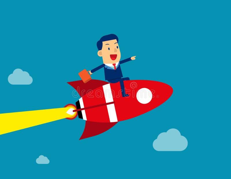 Businessman sitting on rocket go to success. Concept business vector illustration, Rocket ship, Achievement, cloud & sky, stock illustration