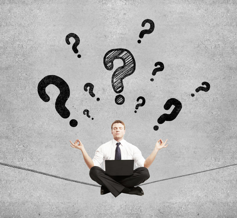 Businessman and question mark royalty free stock photography