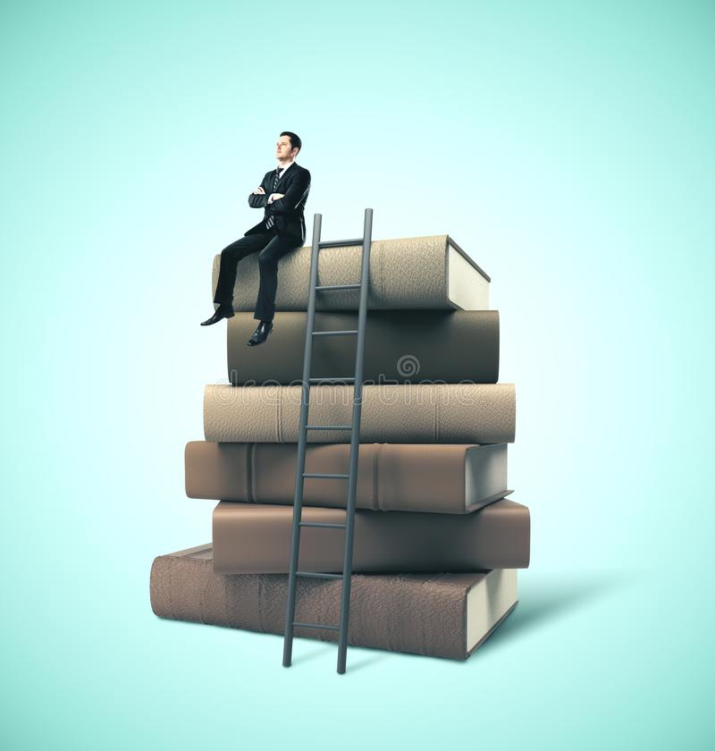 Businessman sitting on stack of books. Businessman in suit sitting on stack of books with ladder. Business education concept royalty free stock photography