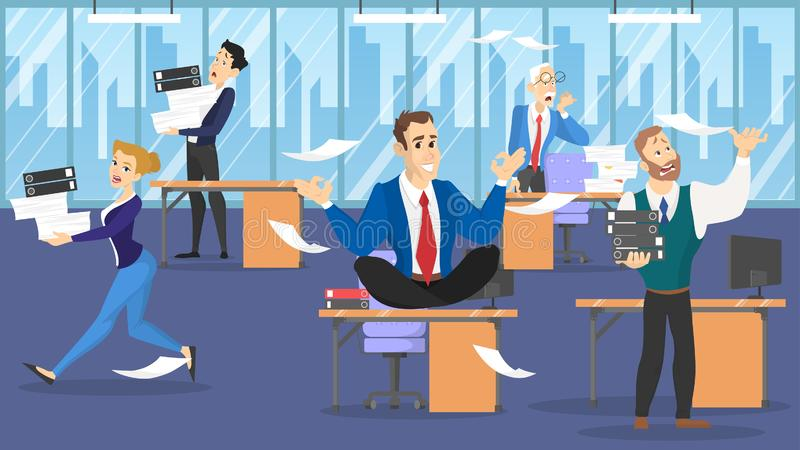 Businessman sitting on the table in lotus pose during deadline royalty free illustration