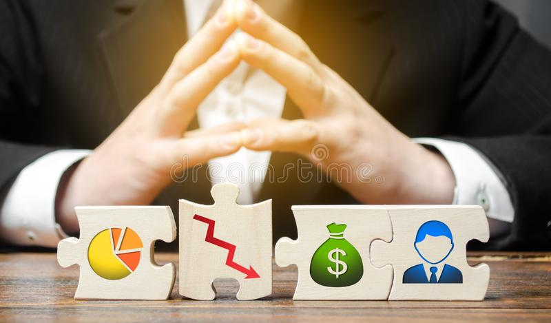Businessman sitting in thought over puzzle wrong business model, unprofitability and inefficiency. Failed project. Unprofitable. High costs. Testing, finding a stock images