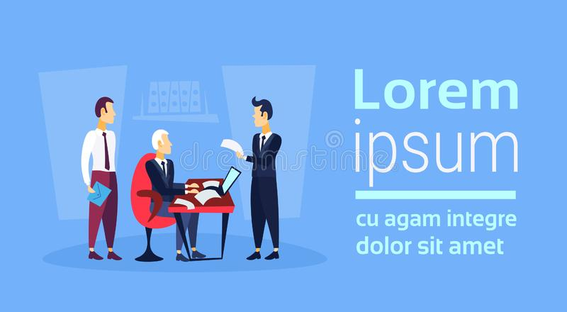 Businessman sitting workplace business interview concept boss employee working report paper document reading contract stock illustration