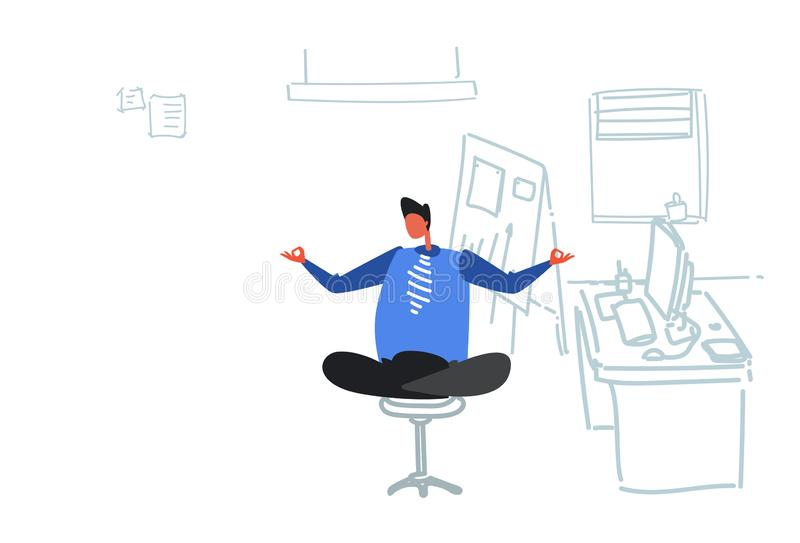 Businessman sitting yoga lotus pose relaxing meditation concept business man doing exercises workplace office interior. Flat doodle horizontal vector vector illustration